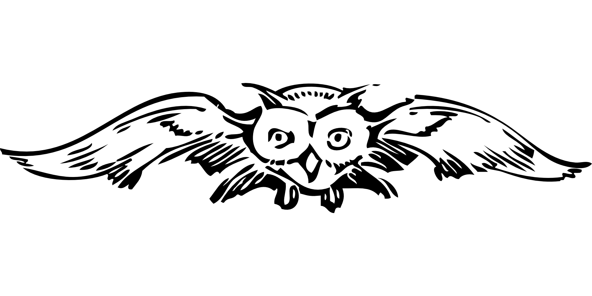 image shows an illustration of an owl flying